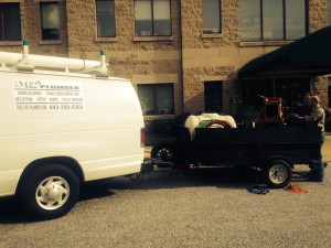 Fred's van and trailer at Kennedy Krieger